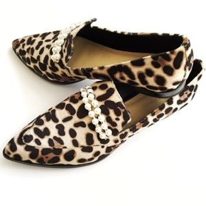 MARC FISHER Kneel Leopard Pearl Suede Loafer Flat